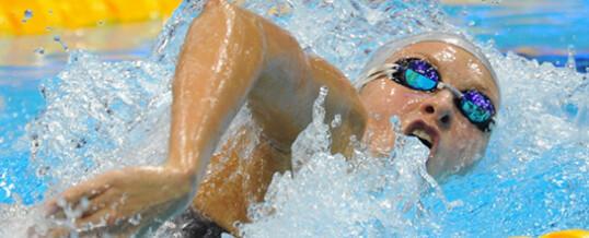 Соревнования по плаванию на коротких дистанциях.
