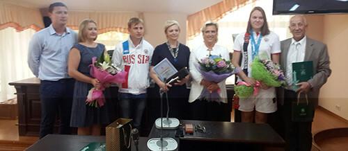 Награждение наших спортсменов победивших в первенстве Мира по подводному спорту Греция 2014